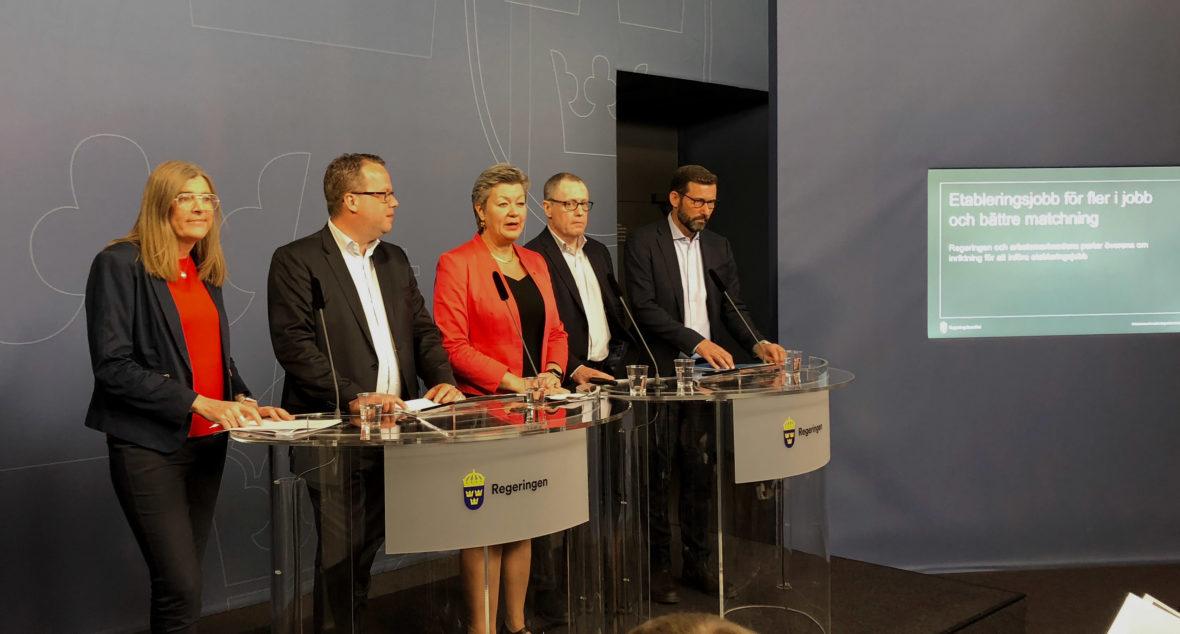 Arbetsmarknadsminister Ylva Johansson deltog tillsammans med LO, Unionen, Teknikföretagen samt Stefan Koskinen från Almega