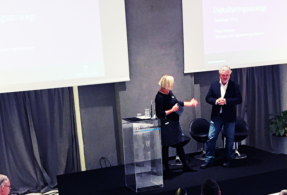 Digitaliseringsminister Peter Eriksson på IT&Telekomdagen den 9 november.
