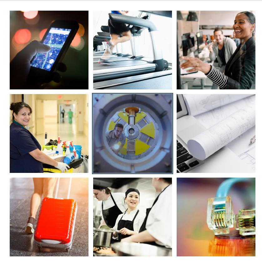Bilder på arbeten inom tjänstesektorn